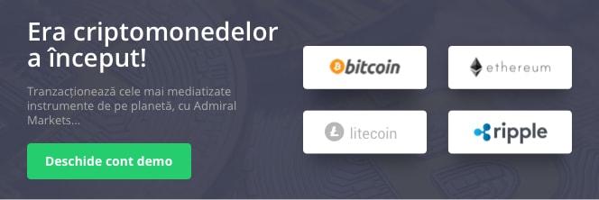 Tranzactioneaza criptomonede, bitcoin, etheriun, litecoin,ripple