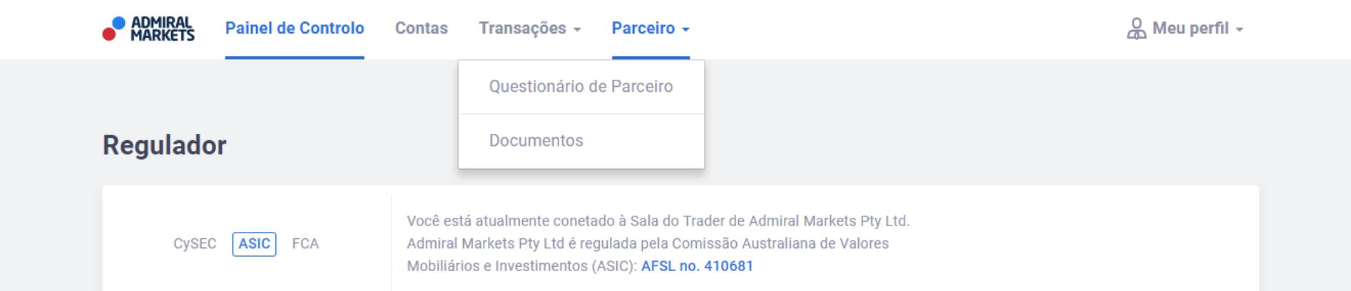 Parceiro CPA Admiral Markets