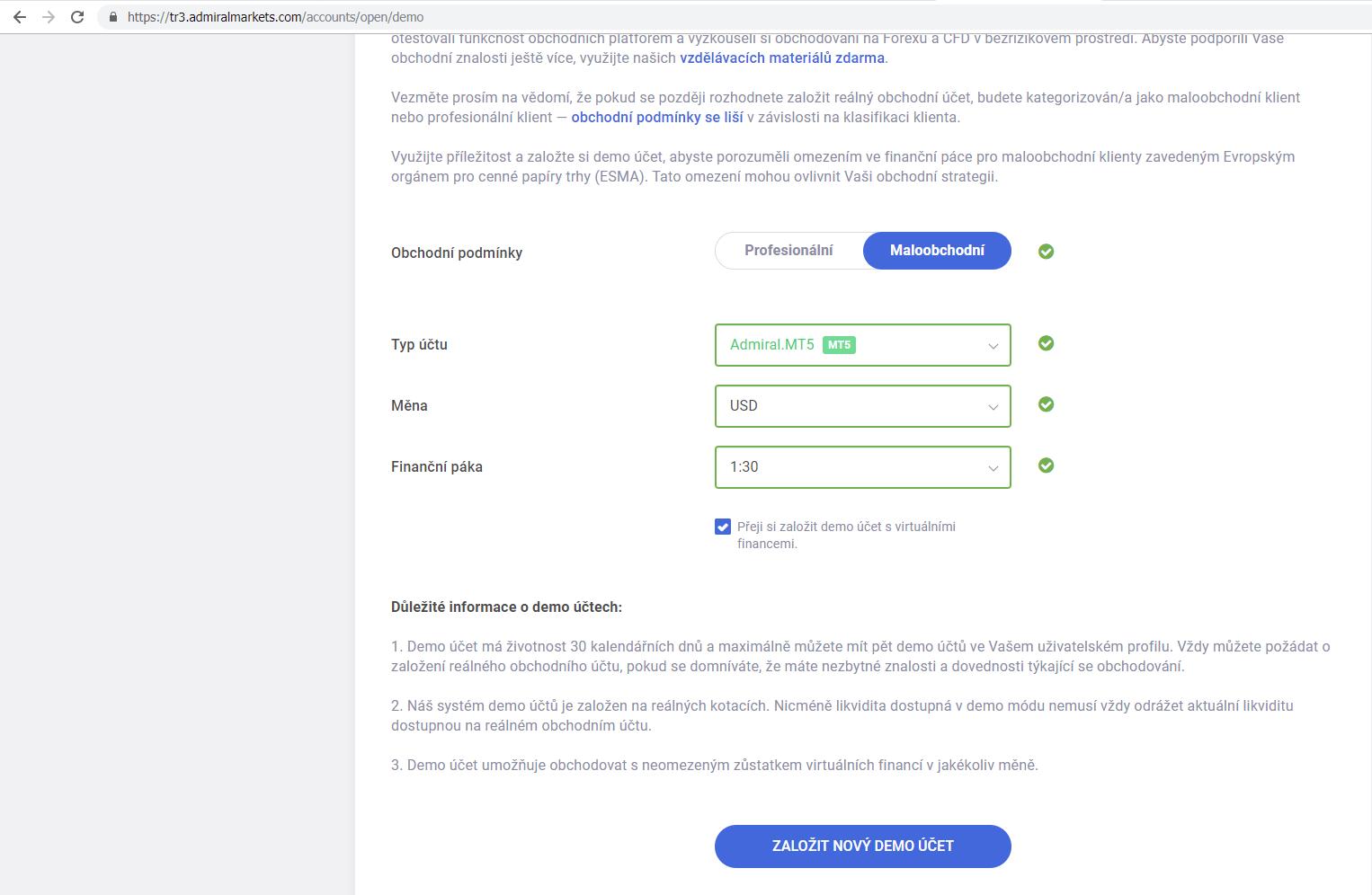 Založit MT5 Demo účet Forex a CFD