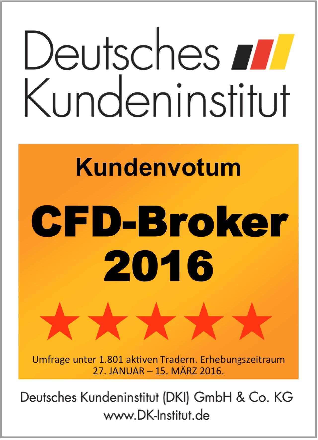 Bester CFD Broker 2016, 5 Sterne, Bestnote für Admiral Markets laut DKI