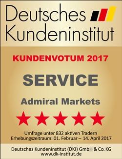 Bester Service bei den CFD Brokern 2017 - Admiral Markets laut DKI