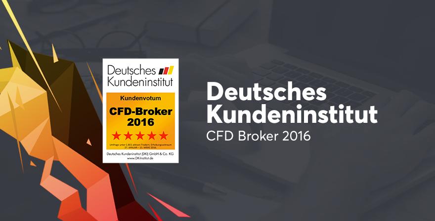 5 Sterne, Bestnote CFD Broker des Jahres 2016 vom DKI