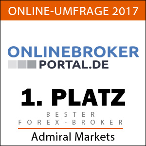 Preisgekrönter Broker! Admiral Markets ist Sieger der Onlinebroker-Portal.de Umfrage 2017. 1. Platz als bester Forex-Broker!