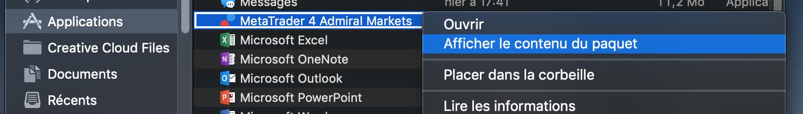 Comment afficher le contenu du paquet MetaTrader 4 MAC