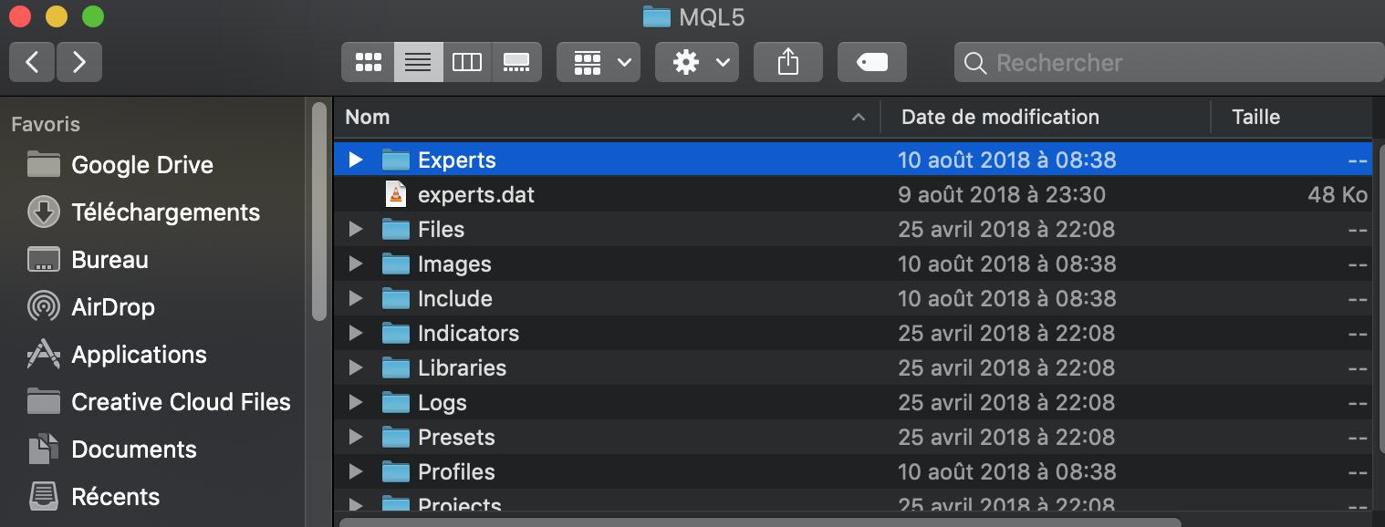 Trouver le dossier MT5 Expert Advisors sur Mac