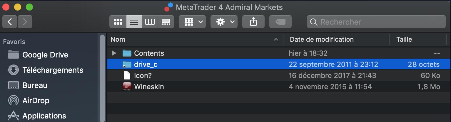 Accéder au fichier Drive_c dans le paquet MetaTrader 4 Admiral MArkets Macbook