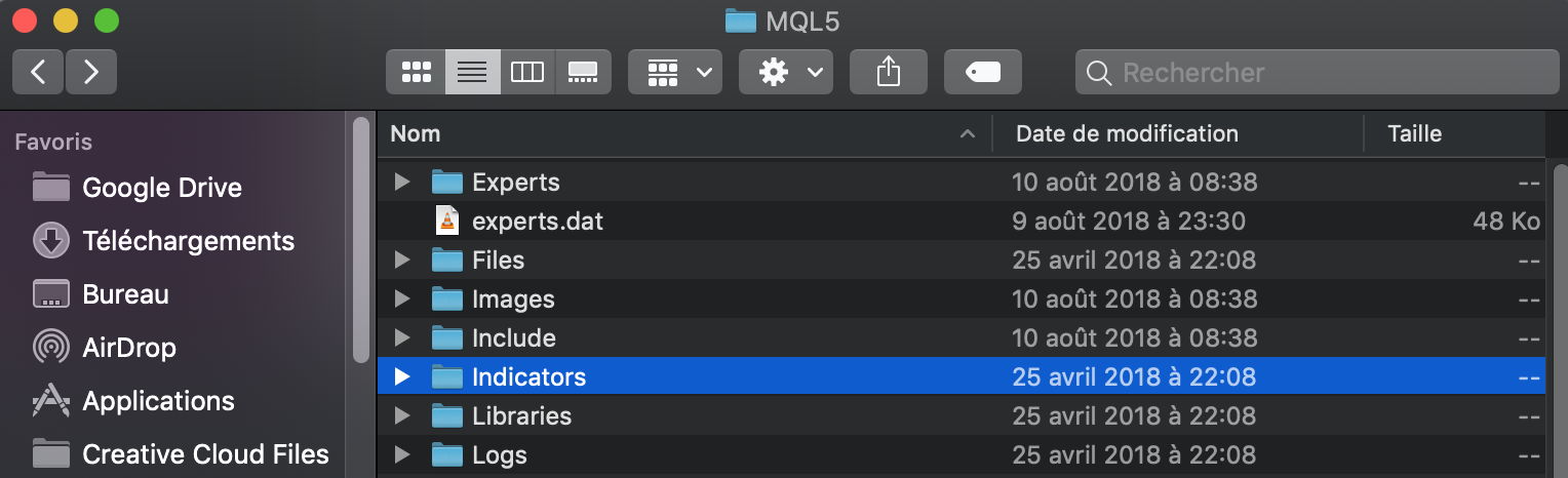 Trouver la liste des indicateurs MT5 sur iMac