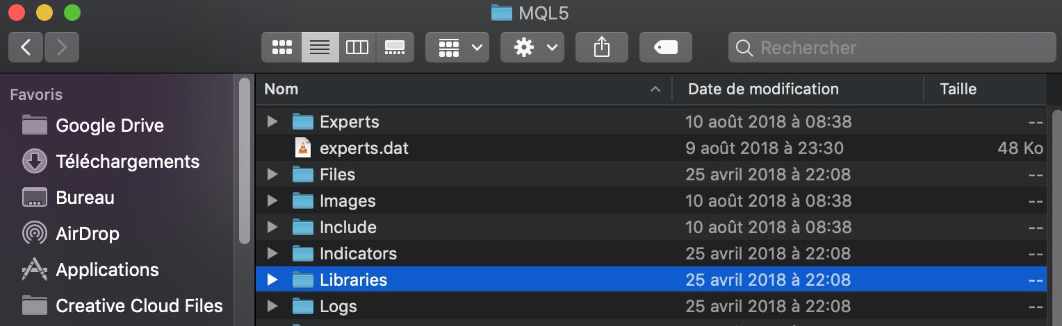 Comment accéder aux fichier DLL dans le dossier MQL5 Mac