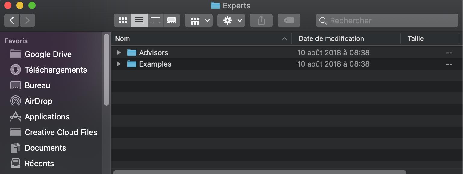 Comment trouver la liste des expert consultant MT5 Mac