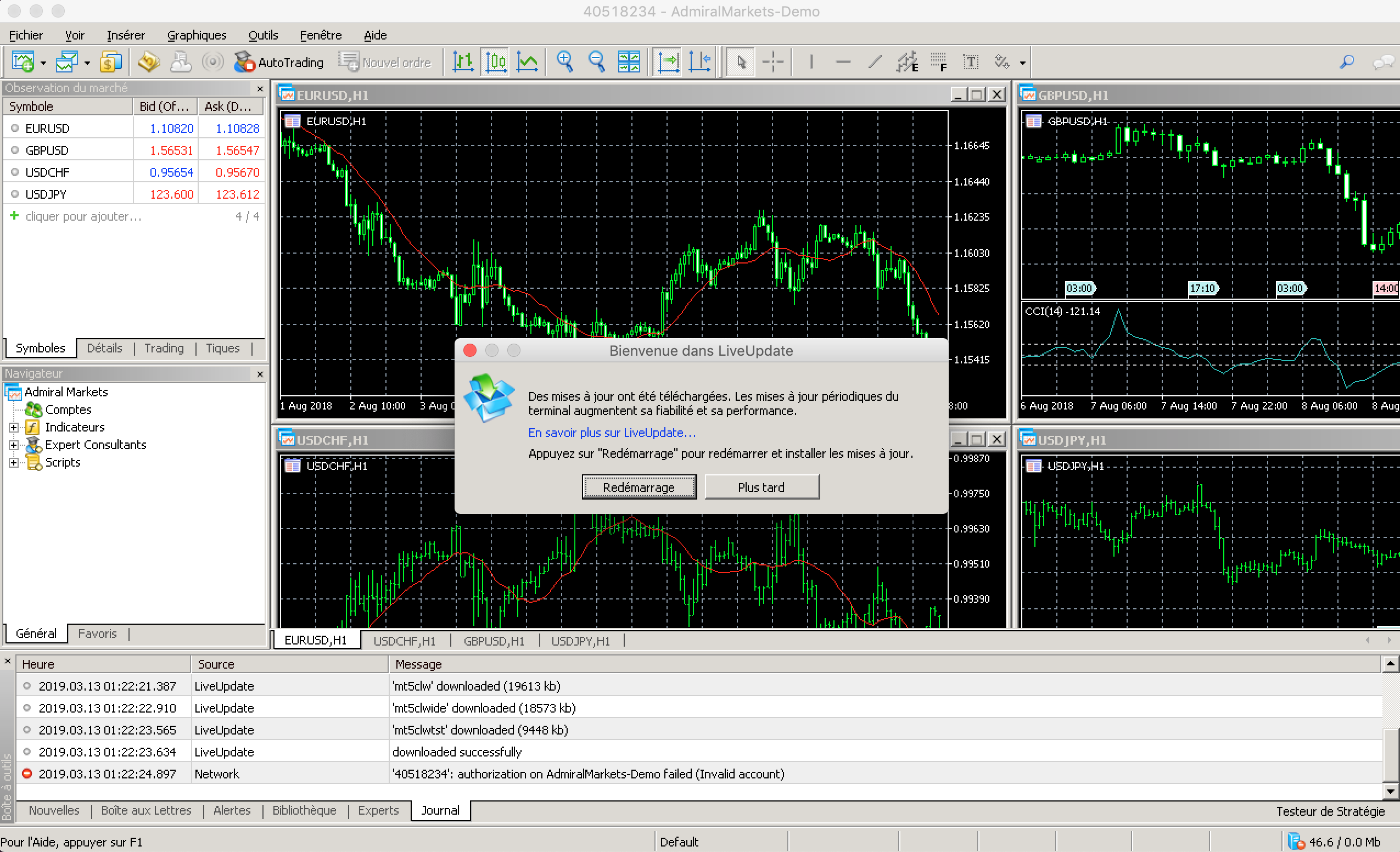 Mise à Jour MetaTrader 5 Mac Admiral Markets