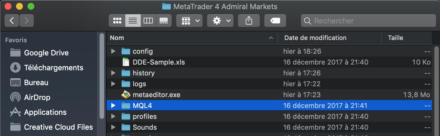 Ouvrez le dossier MQL4 de MT4SE Admiral Markets Mac