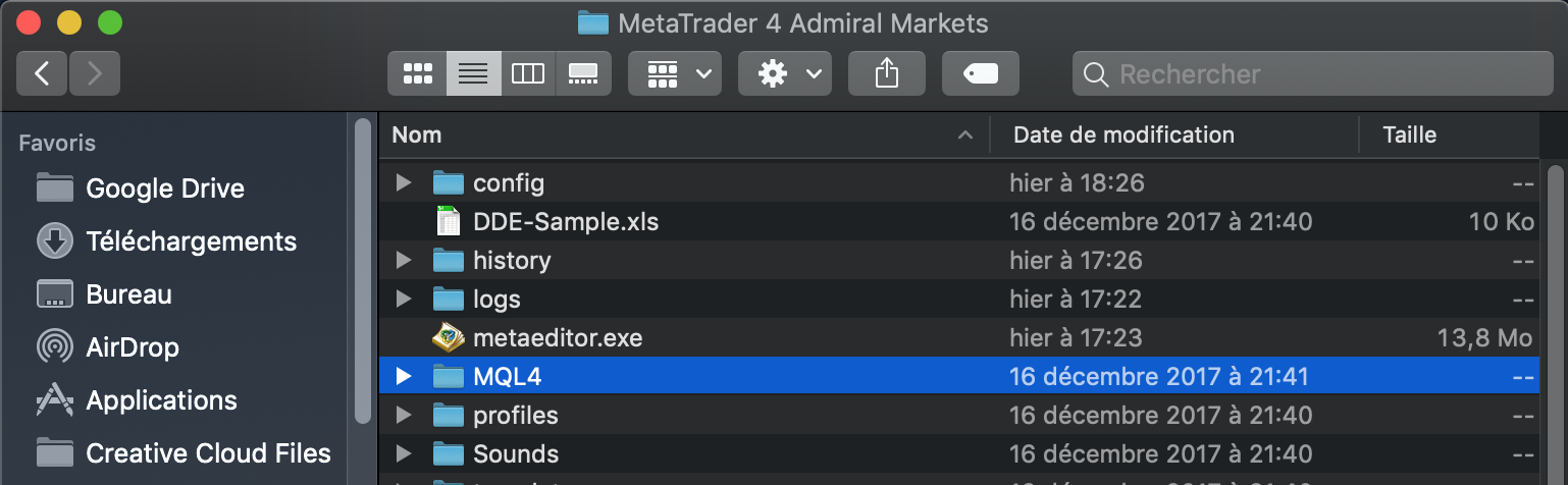 Accéder à MQL4 fichiers sur Mac MetaTrader 4