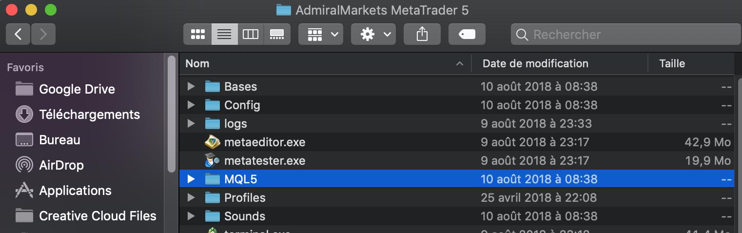 Trouver tous les fichiers EA/indicateur/Libraries de la plateforme bourse Admiral MArkets MT5 iMac