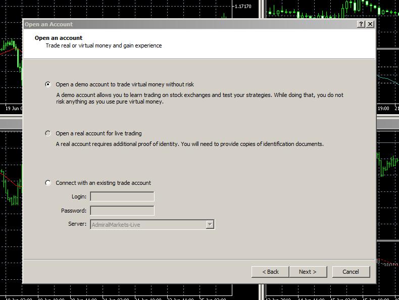 Založení MetaTrader 5 demo účtu