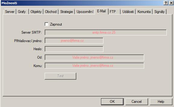 MetaTrader 4 možnosti e-mail