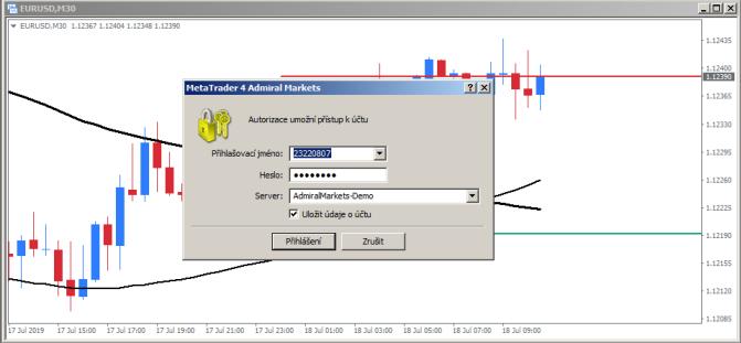 MetaTrader 4 přihlásit se k obchodnímu účtu