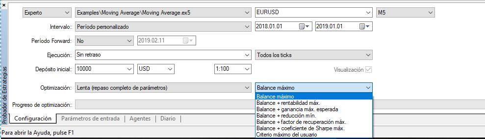 Trading automático, optimización MT5