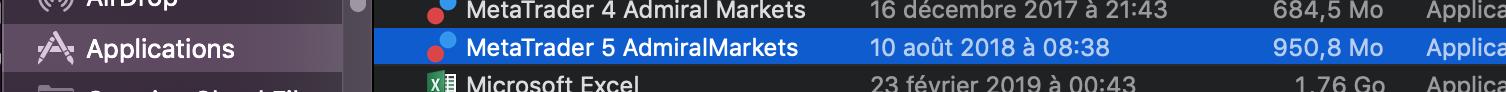 Sélection du logiciel boursier MT5 Mac