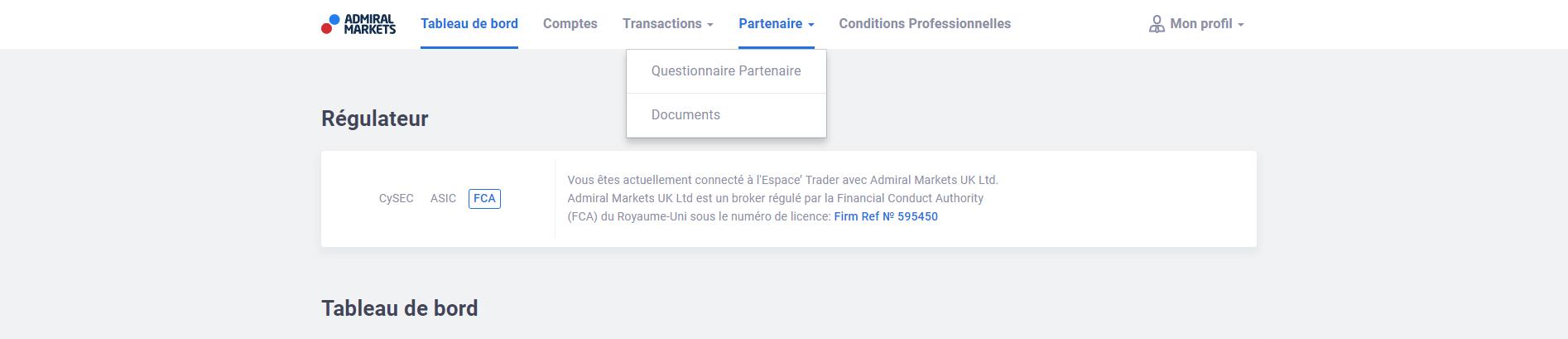 Questionnaire Partenaire Admiral Markets