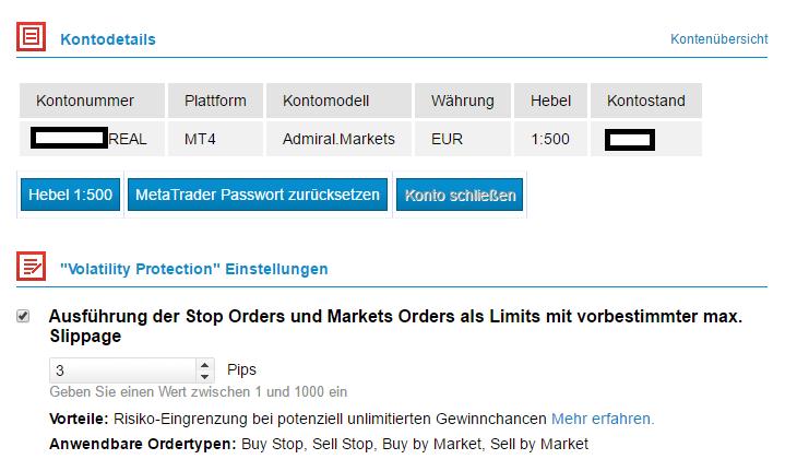 Aktivieren und managen Sie die Volatilitäts-Ordereinstellungen im TRADER RROM