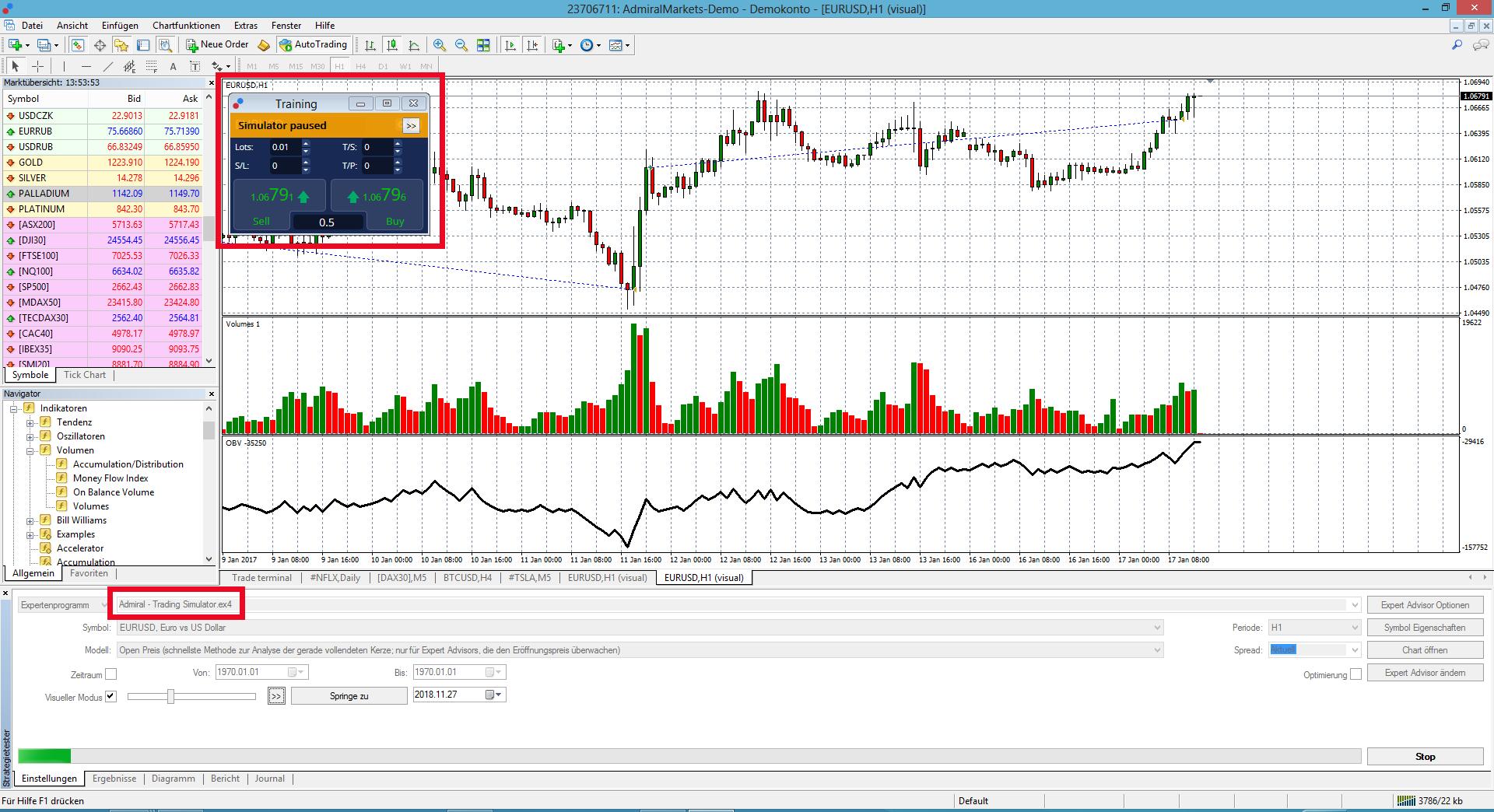 Trading Simulator der Admiral Markets Supreme Edition für MT4 und MT5 Bild