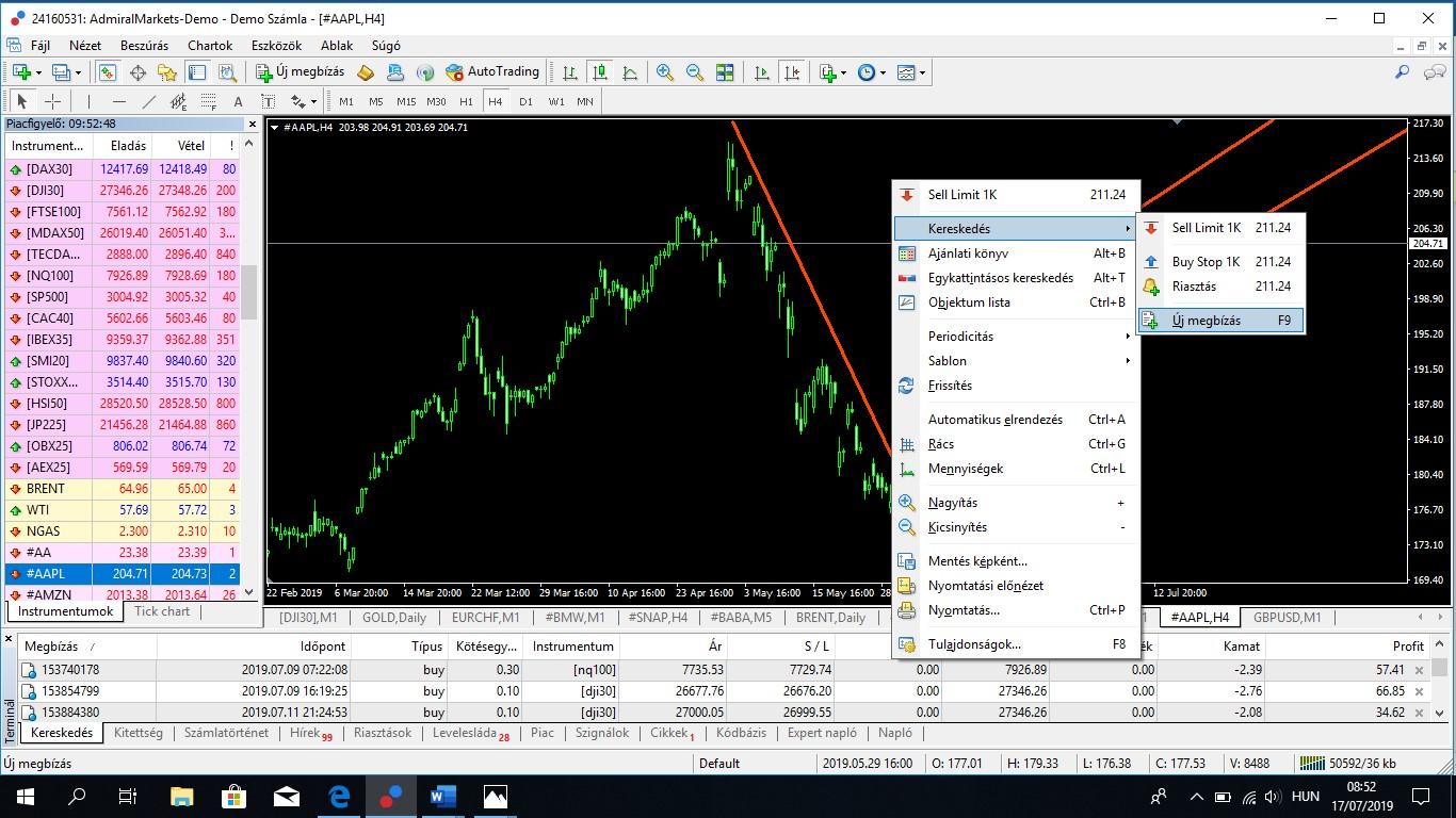 részvénybemutató számla