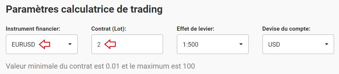 paramètres calculatrice trading