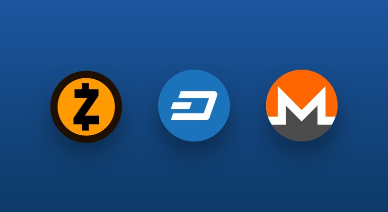 CFDs crypto monnaies Dash, Monero, Zcash