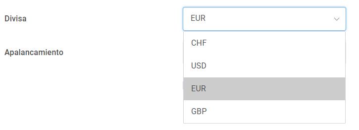 cuenta de trading - divisa