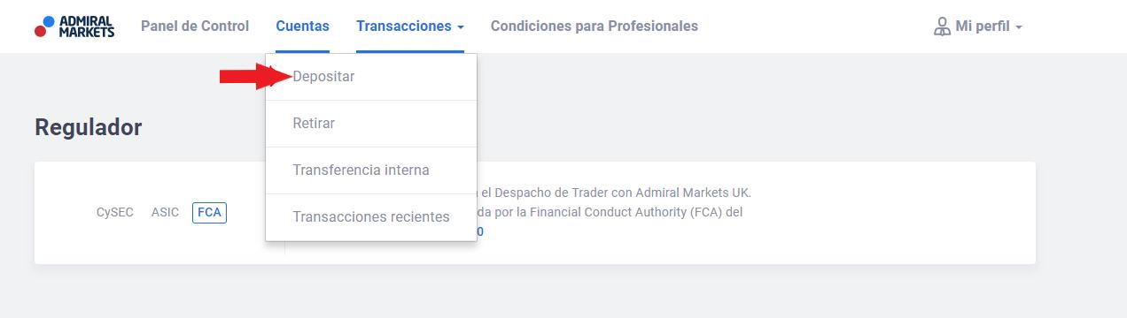 cuenta de trading - depósito