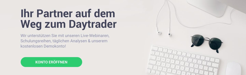 Eröffnen Sie ein kostenloses Demokonto und machen Sie den ersten Schritt zum Daytrader!