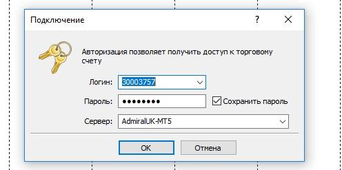 Авторизация счета в MetaTrader 5