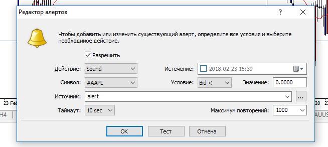 Как настроить оповещения на MetaTrader 4