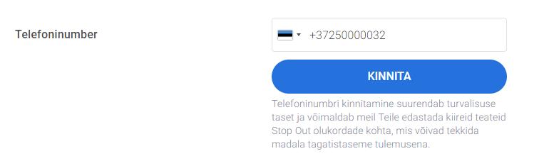 telefoninumbri kinnitamine konto avamisel