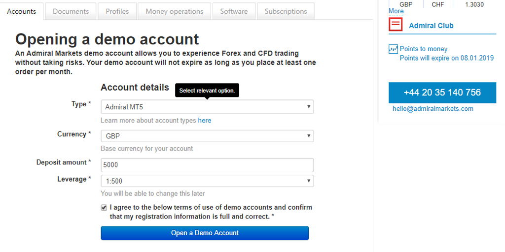 Opening a demo account