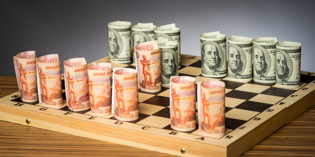 ruble dollar currencies playing chess