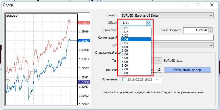 Как изменить объем сделки в MetaTrader 4