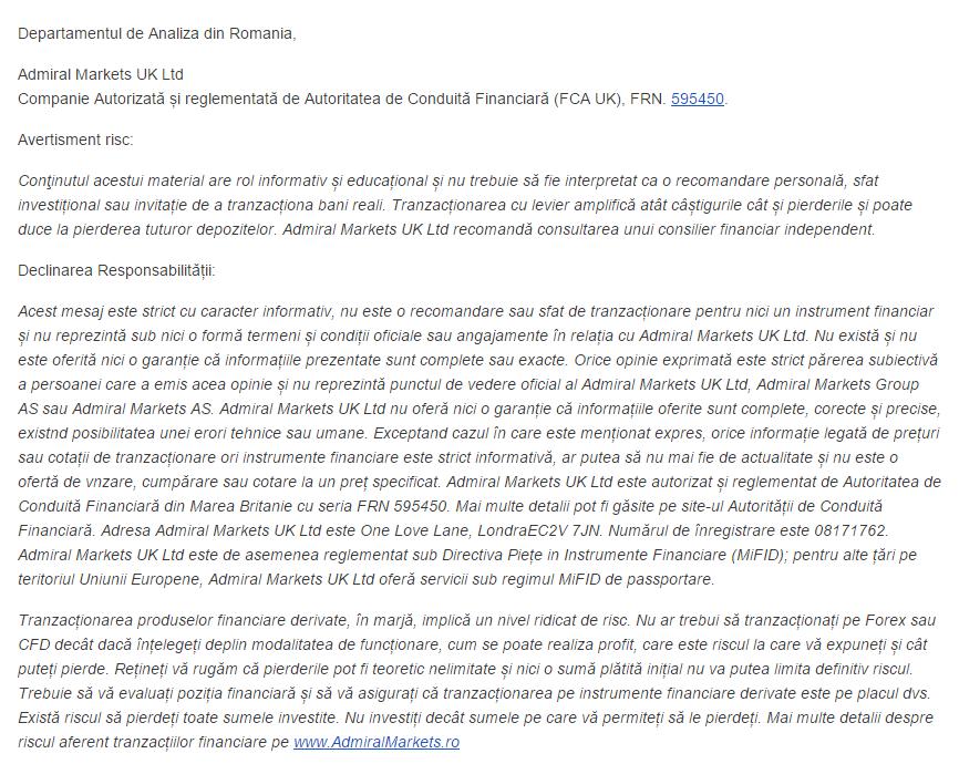 INDICATORI ŞI OSCILATORI PENTRU PIAȚA FOREX (I) - disclaimer
