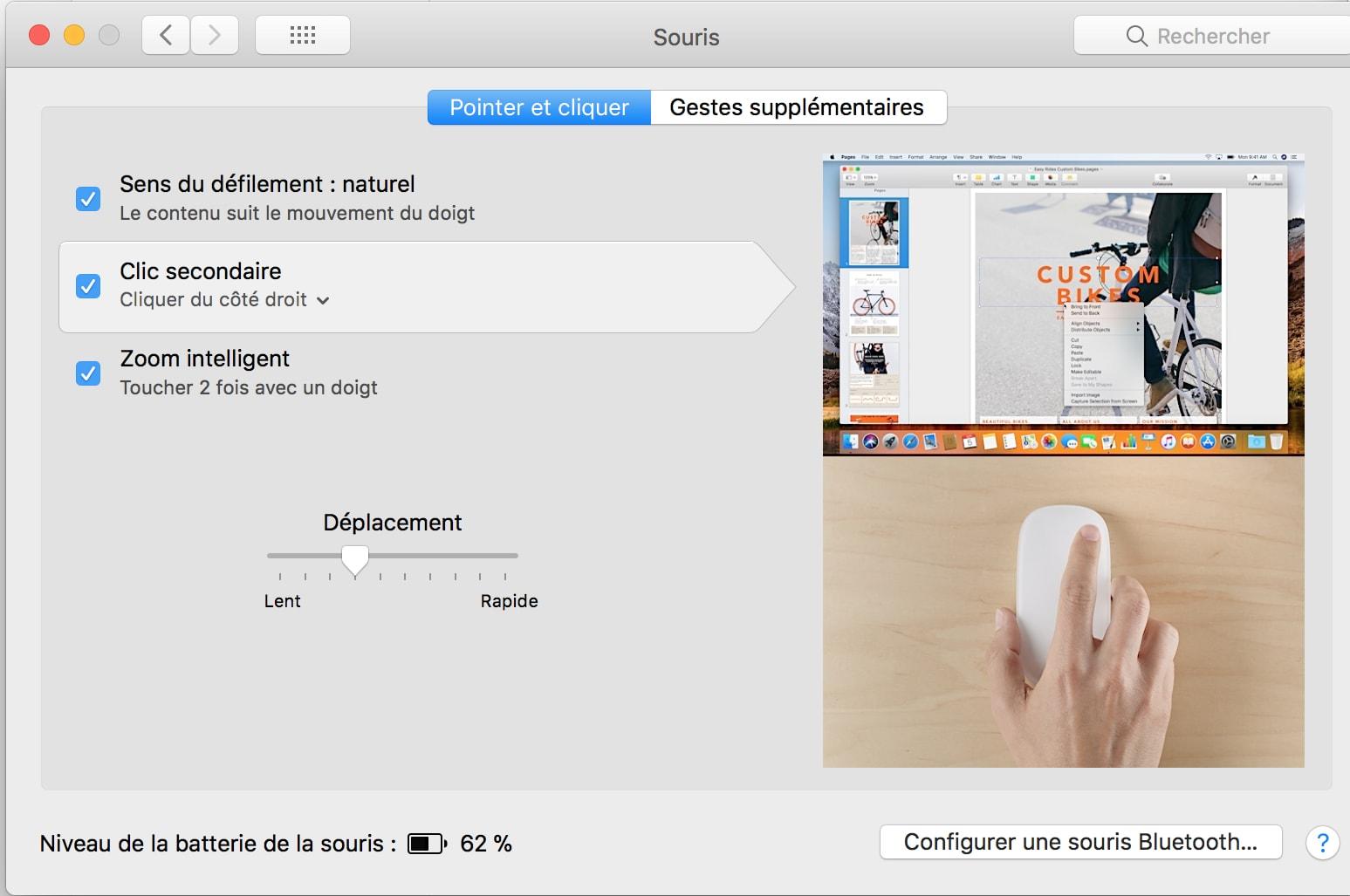 Configurações do rato MAC