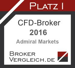 Admiral Markets UK ist Bester CFD-Broker 2016 laut Brokervergleich.de - Award, Erster Platz