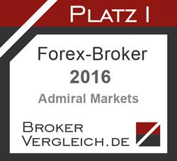 Admiral Markets UK ist Bester Forex-Broker 2016 laut Brokervergleich.de - Award, Erster Platz