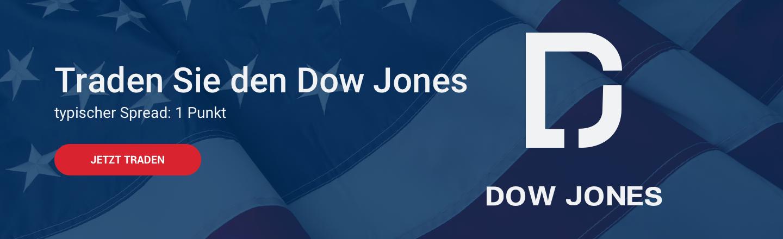 Traden Sie den Dow Jones mit einem typischen Spread von 1 Punkt
