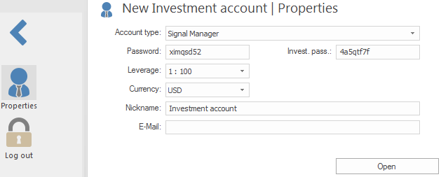 New Investment account. Properties.