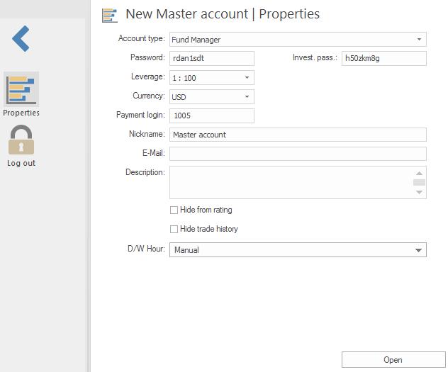 New Master account. Properties